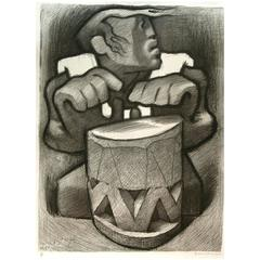 "Jean Charlot Original Pencil Signed Lithograph, 1970 - ""Hawaiian Drummer"""