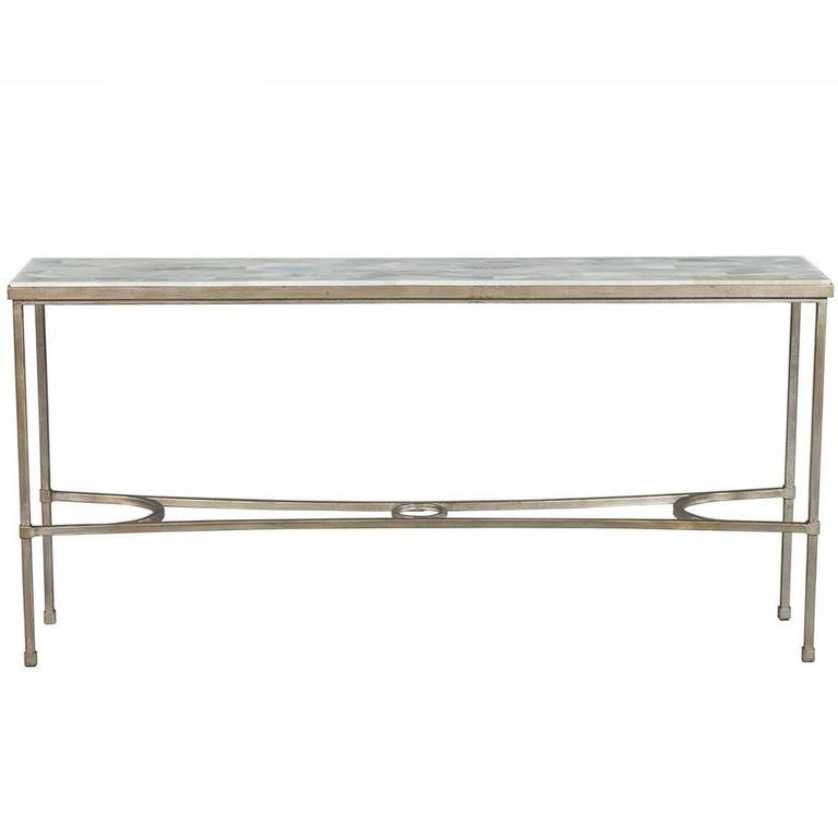 Dove White Split Face Stone Top Metal Console Table For Sale