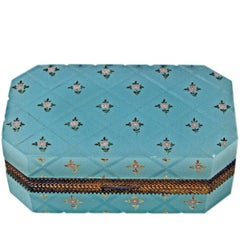 Opaline Blue Casket Box Gilt Bronze Mounting Painted Flowers Bohemia, circa 1850
