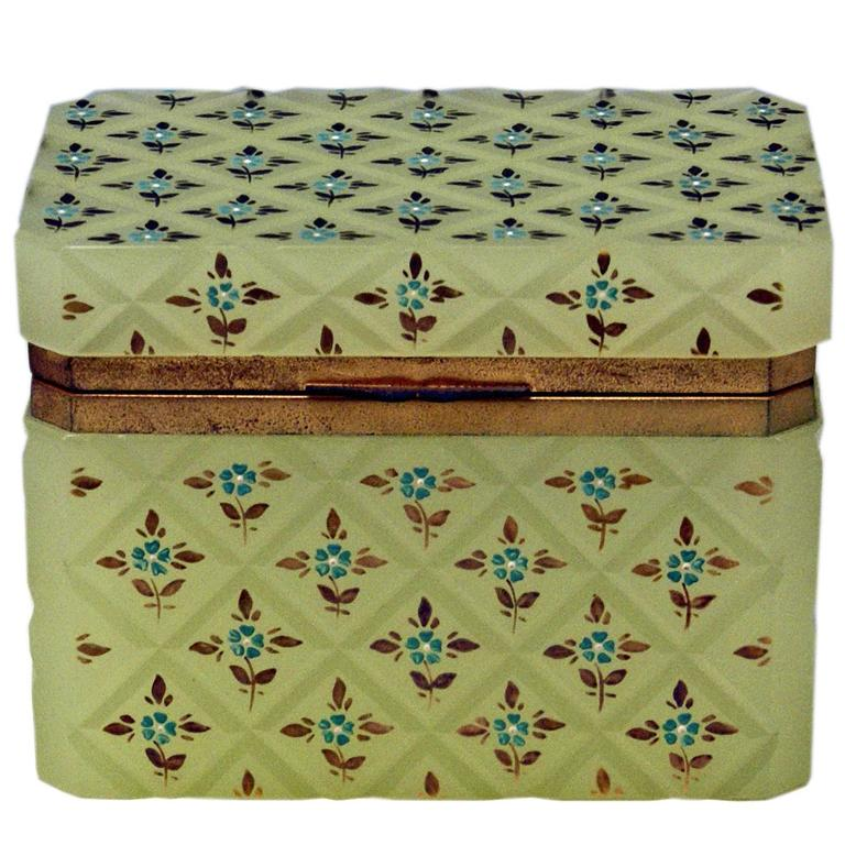 Opaline Green Casket Box Gilt Bronze Mounting Painted Flowers Bohemia c.1850 For Sale
