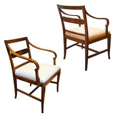 Pair of Art Deco Modern Classicism Armchairs in Birch by Carl Malmsten