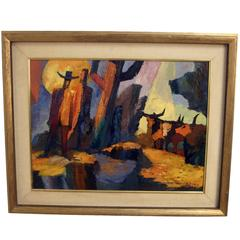 Abstract Western Landscape Painting by Anthony Rizzo