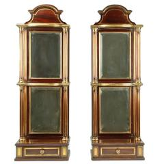 19th Century Pair of French Empire Mahogany and Brass Mirrored Wall Shelves