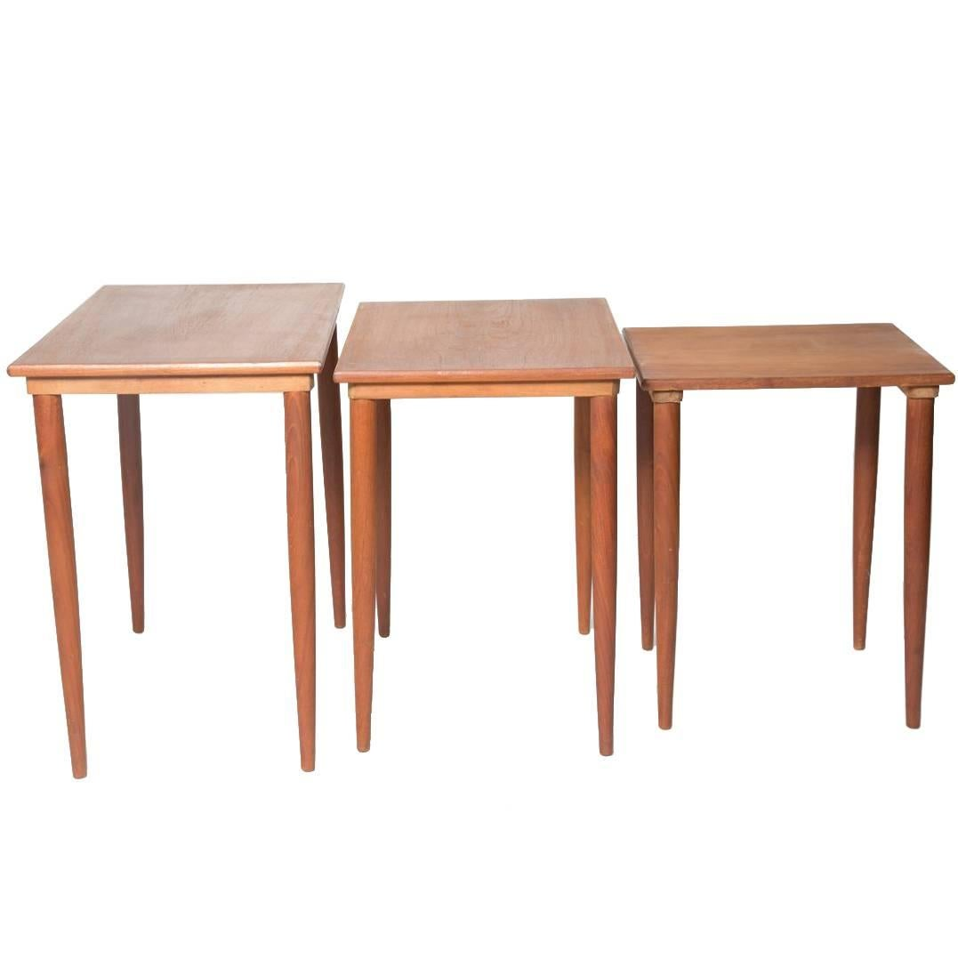Teak Nesting Tables with Round Legs