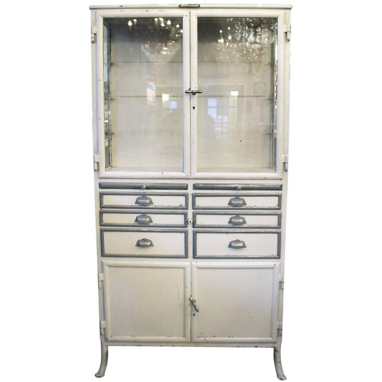 1890s, French, Dental Medical Cabinet with Drawers and Glass ...