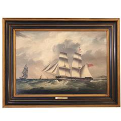 Joseph Heard Oil on Canvas of the Full-Rigged James Ray