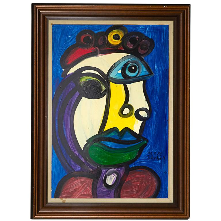 """Peter Keil, """"The Blue Lady"""", Oil on Poster Board, Signed and Framed"""