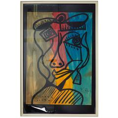 Peter Keil, 'Pablo Picasso with a Hat,' Oil on Board, Signed and Framed