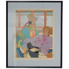 Paul Jacoulet, 'Une Histoire Très Drôle. Mongols', Woodblock Print, Signed