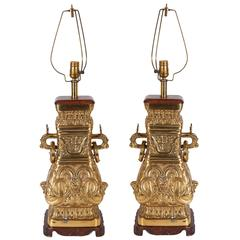 Pair of Archaic Chinese Vase Form Lamps in the Manner of James Mont