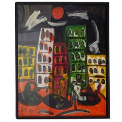 Peter Keil, Expressionist Cityscape, Acrylic on Board, Signed and Framed