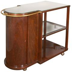Art Deco Mahogany Cocktail Bar Cart