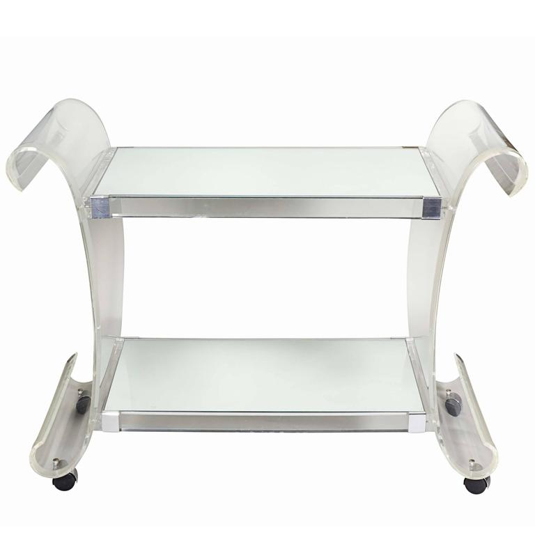 Charles Hollis Jones Lucite Scroll Bar Cart with Mirrored Shelves