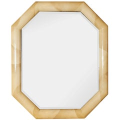 Mid-Century Modern Lacquered Faux Goatskin Octagonal Wall Mirror