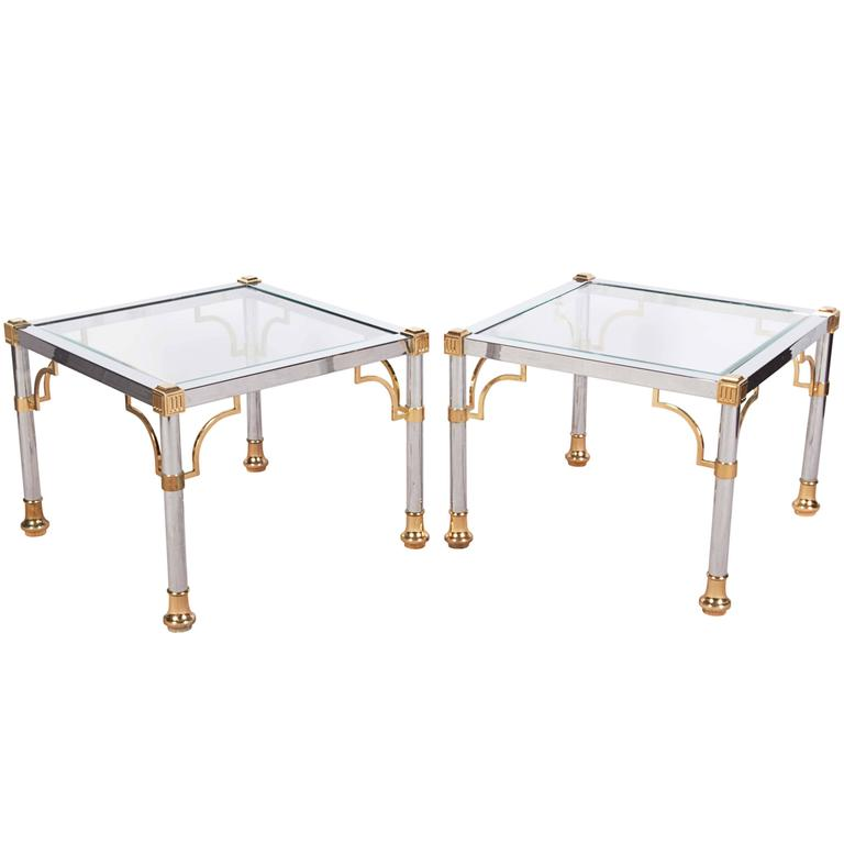 Pair of Maison Jansen Style Chrome Glass Top End Tables with Brass Accents