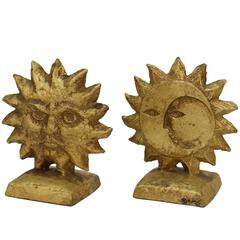 Pair of Reversible Sun and Moon Curtis Jere Bookends