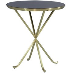 Brass Side Table with Mahogany Top