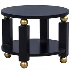 Round Art Deco Black and Gold End Table