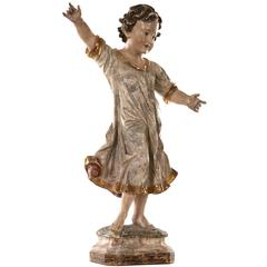 Ecclesiastical Hand-Carved and Painted Wooden Figure of a Young Boy