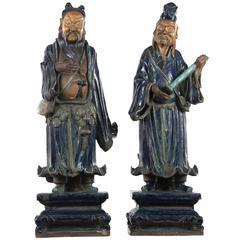 Pair of Polychrome Glazed Terracotta Japanese Immortal God Statues