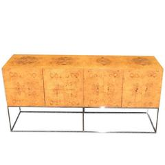 Milo Baughman for Thayer Coggin Burl Wood Credenza on a Floating Chrome Base