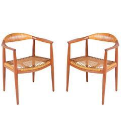 """Hans J. Wegner """"Round"""" Caned Armchairs for Johannes Hansen"""
