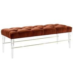 Lucite Brass Rodded Bench in Tufted Rust Orange Velvet