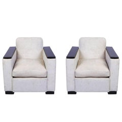 Pair of Art Deco Armchairs or Club Chairs Attributed to Jacques Adnet