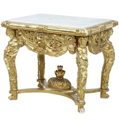 19th Century Carved Gilt Marble-Top Center Table