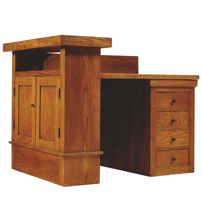 Oak Desk by Frank Lloyd Wright for the A. W. Gridley House, Illinois, 1906