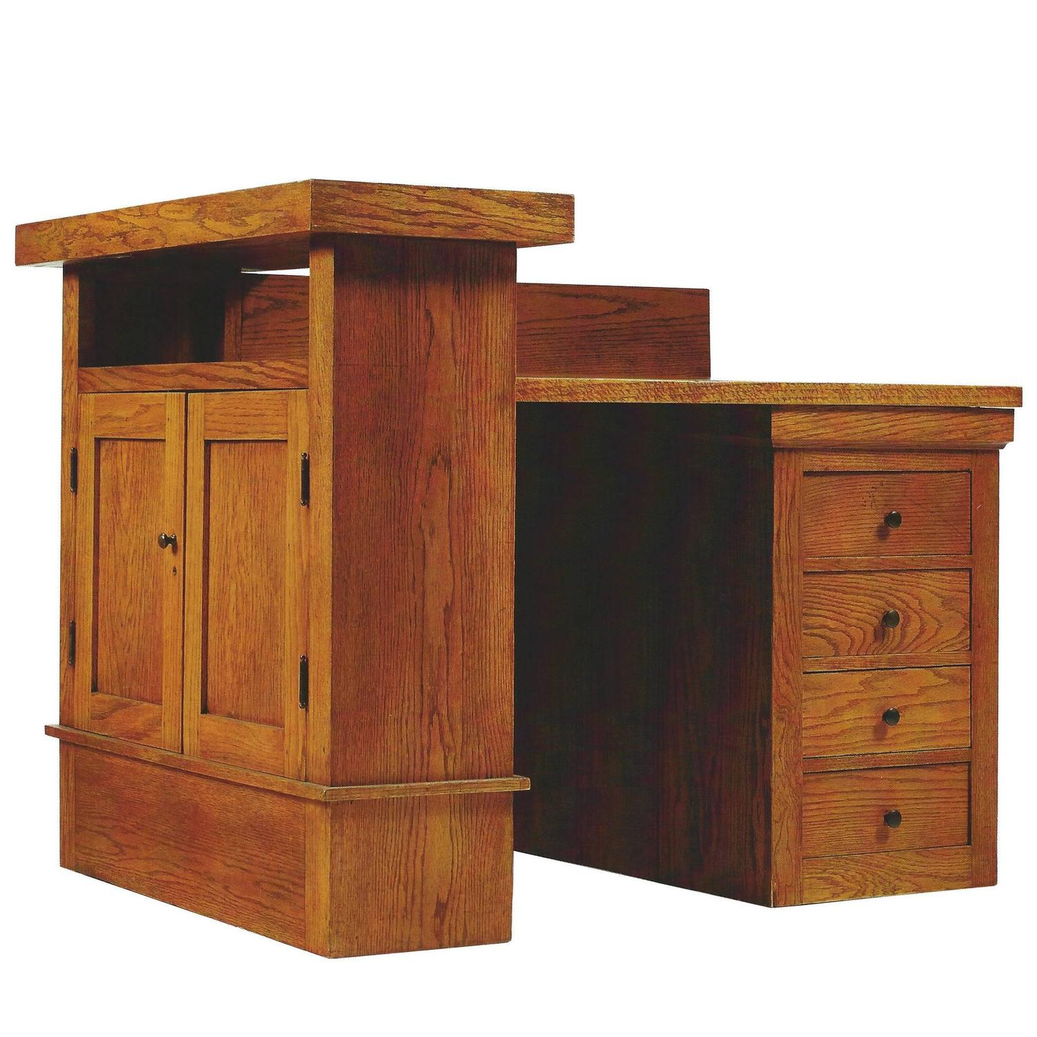 Oak Desk By Frank Lloyd Wright For The A W Gridley House Illinois 1906 At 1stdibs