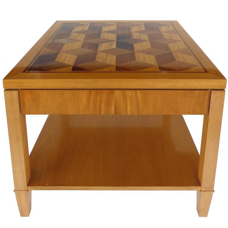 Mid-Century Baker Inlaid Geometric Design Side Table