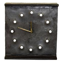 Austrian Brutalist Cast Iron Table Clock from the 1960s