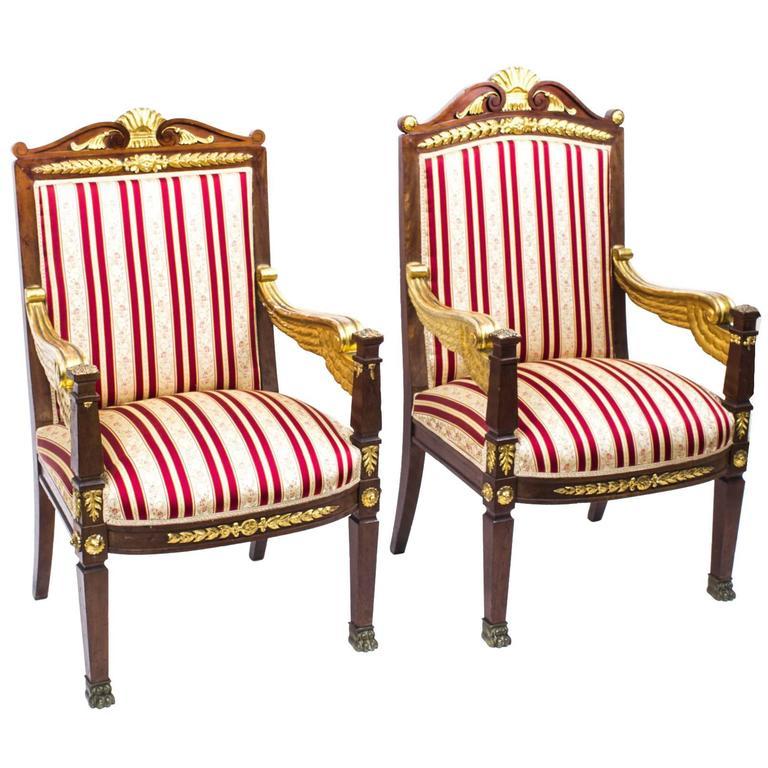 19th Century Companion Pair of Napoleon III Gilded Armchairs