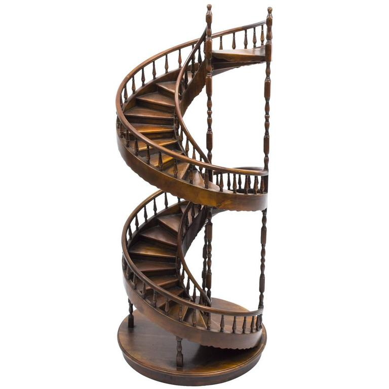 Exceptionnel Vintage Mahogany Architectural Model Spiral Staircase For Sale