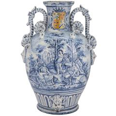 18th Century Italian Blue and White Porcelain Urn from Sorano, Dated 1747