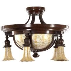 Quezal Art Nouveau Pendant Light with Lily-Form Shades