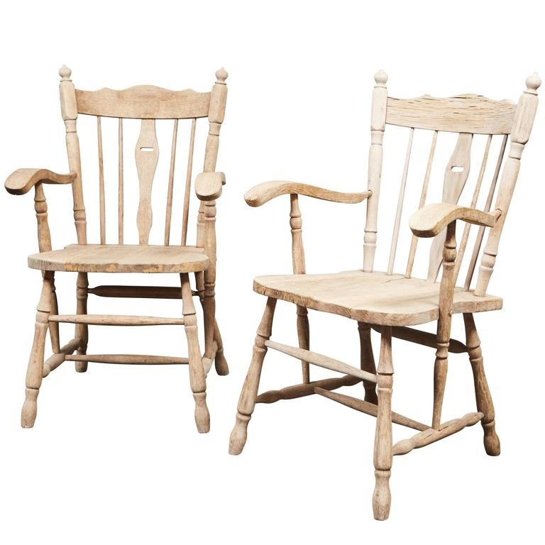 Pair of English Oak Armchairs