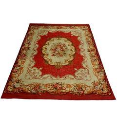 Antique Aubusson French Carpet Rug