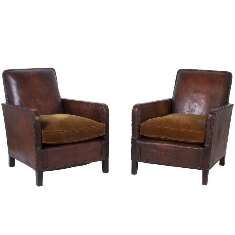 Pair of Art Deco Leather Club Chairs