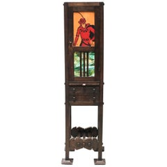 Charming American Arts & Crafts Narrow Cabinet with Slag Glass Panels