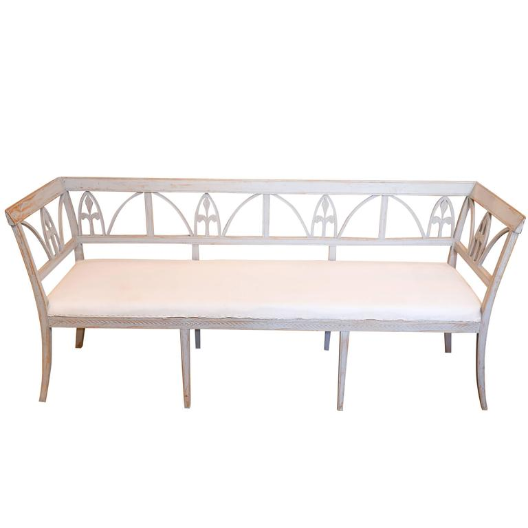 19th Century Gustavian Style Swedish Painted Bench