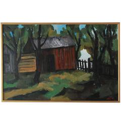 Gold Framed Vibrantly Colored Landscape with a Red Barn