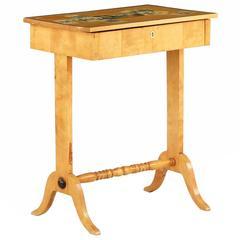 Northern European Birch Decoupage Side Table in Biedermeier taste, 19th Century