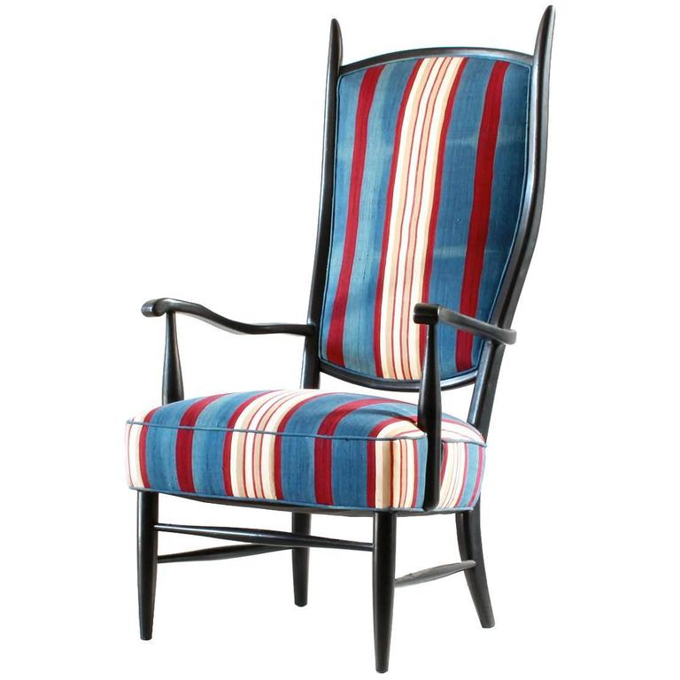 Black Painted Spanish High Back Chair Upholstered in African Fabric For Sale