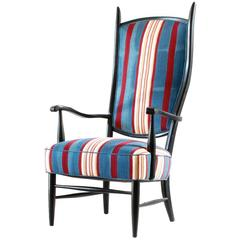 Black Painted Spanish High Back Chair Upholstered in African Fabric