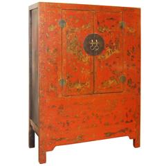 Chinese Gilt Red Lacquer Cabinet, Late 18th Century
