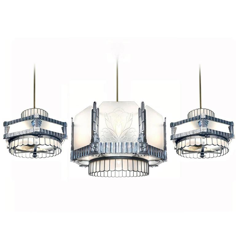 Art Deco Theater Chandelier and Matching Ceiling Fans at 1stdibs