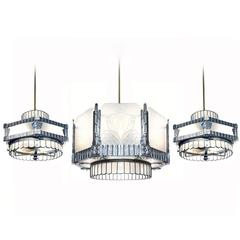 Art Deco Theater Chandelier and Matching Ceiling Fans