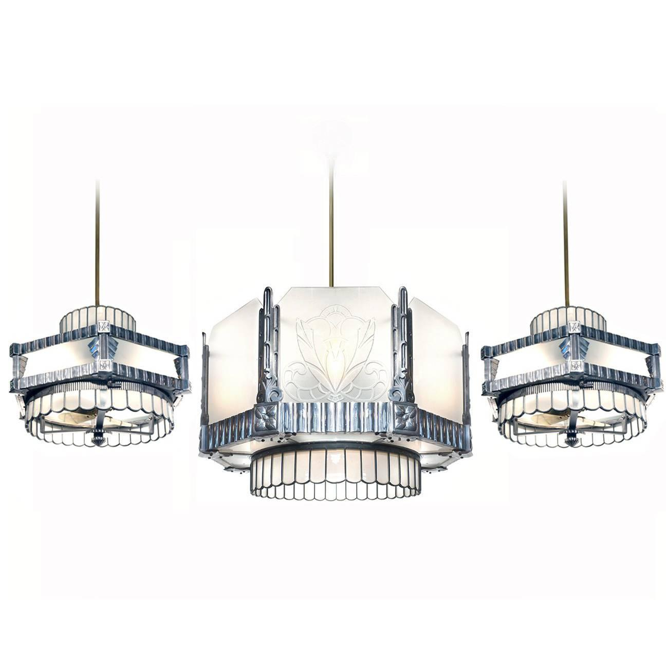Art Deco Theater Chandelier And Matching Ceiling Fans At